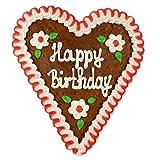 Lebkuchenherz 16cm - Happy Birthday | Randfarben variieren | tolles Geburtstag-Geschenk zum Vernaschen | handbeschrieben & mit Liebe gebacken -