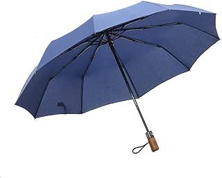 SHANGRUIYUAN-Umberllas Auto Open Travel Umbrella with 10 Reinforced Fiberglass Ribs Windproof Durable Sun Block Rain Guard Large Canopy (Color : Blue, Size : Free)
