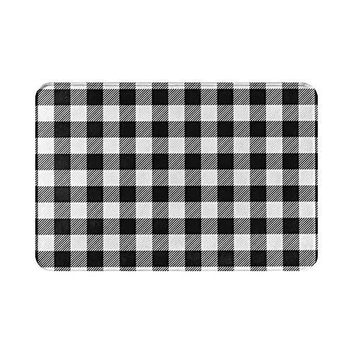 ASXZQF White and Black Buffalo Plaid Gingham Tartan Bath Mat Doormat Rug, Non Slip Carpet for Indoor Outdoor Kitchen Entrance Bathroom 15.8' X 23.6'
