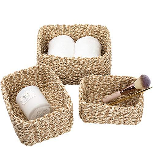 La Jolíe Muse - Set di 3 cestini in carta riciclata, per armadietti, cassetti, armadi, mensole, colore: giallo