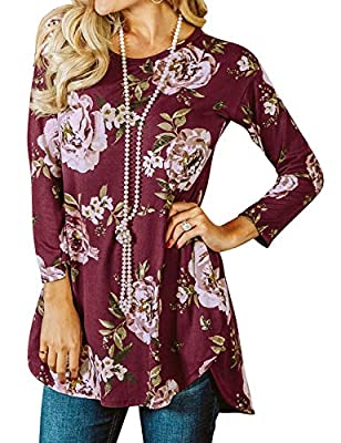 Ezcosplay Women Long Sleeve Floral Tunics Casual Shirt Long Blouse Top for Leggings Burgundy