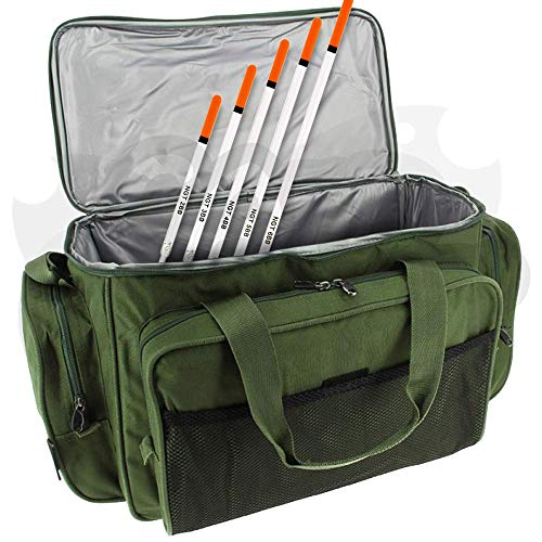 NGT Carp Fishing Green Insulated Tackle Bait Carryall Bag Free 5pc Waggler Float Set