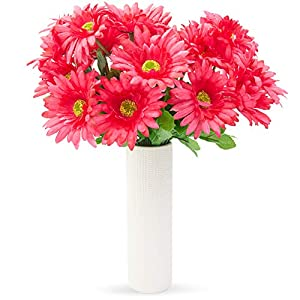 Juvale Artificial Daisies – 21 Daisy Bouquet in Hot Pink – Fake Flowers