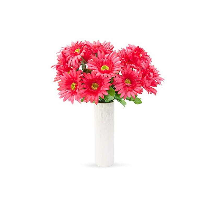 silk flower arrangements juvale artificial daisies - 21 daisy bouquet in hot pink - fake flowers
