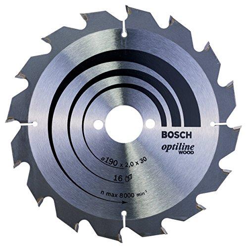 Bosch Lame de Scie Circulaire, 16 Dents, 30mm d'Alésage, 2mm Largeur de Coupe, 1.3mm Épaisseur du Corps, 190mm Diamètre