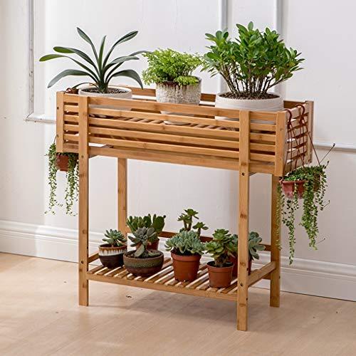 Slow Time Shop Blumenkastenständer for Gartenpflanzgefäße, 2-stufiger Holzpflanzenhalter for Innen- und Außenbereiche, Blumenkastenbehälter for Gartenpflanzgefäße, Garden & Home