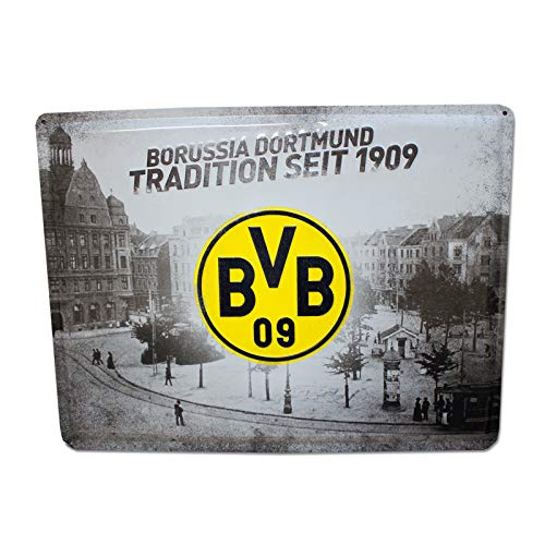 Borussia Dortmund Metallschild XXL Schild, Blechschild Tradition BVB 09 (L)