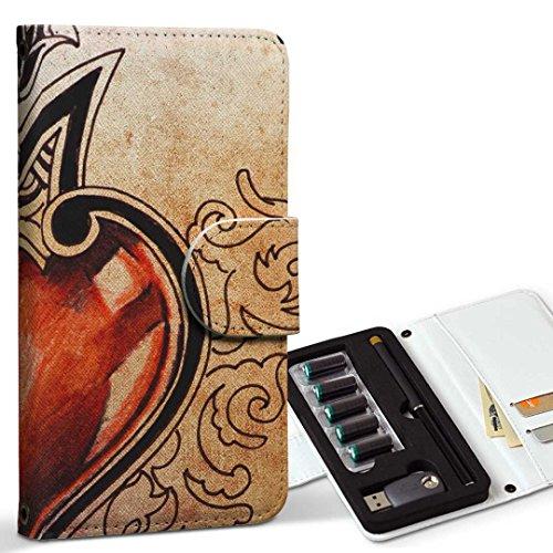 スマコレ ploom TECH プルームテック 専用 レザーケース 手帳型 タバコ ケース カバー 合皮 ケース カバー 収納 プルームケース デザイン 革 ラブリー ハート 000190