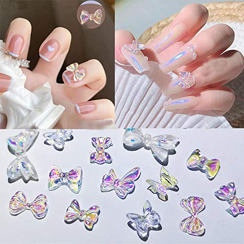 120 pcs Bow Nail Decoration 3D Charm Decals Stickers Accessories Crystal 12 Styles Bow Sparkle Design Nail Decoration Flatback Bow DIY Scrapbooking Craft Jewels Supplies
