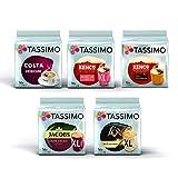 Tassimo Black Coffee Bundle - Costa Americano, Kenco Pure Colombian/Americano Grande, L Or Classique XL, Jacobs Caffe Crema Classico XL pods - Pack of 5 (80 Servings)