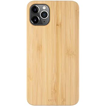 "iATO iPhone 11 Pro Wood Case. Real Bamboo Wood iPhone 11 Pro Case Wood. Minimalistic Classic Wood Case for iPhone 11 Pro 5.8"" {New 2019} Wireless Charging. Natural Wooden & Black Polycarbonate Bumper"