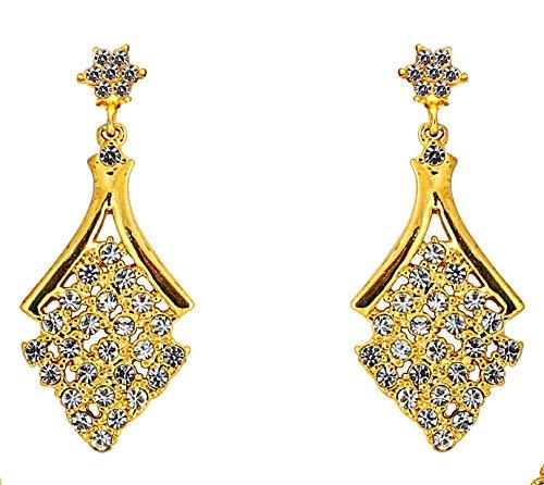 Touchstone clásico indo-occidental Look diamantes de imitación pendientes de oro de tono para las mujeres