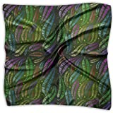 Fascia per capelli, sciarpa di seta quadrata con motivo di piume al neon, bellissimi fazzoletti per equitazione atletica, 100x100cm