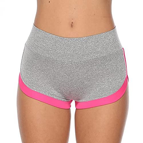Pantalones Cortos para Mujer Verano Yoga Fitness Pantalones Cortos Deportivos Elasticidad Suelta y cómodo para Correr Pantalones Cortos Casuales cómodos S