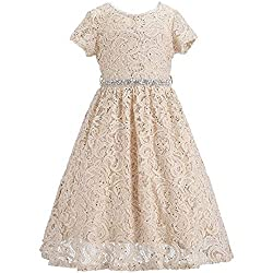 Champagne Lace Flower Girl Sequins Short Dress