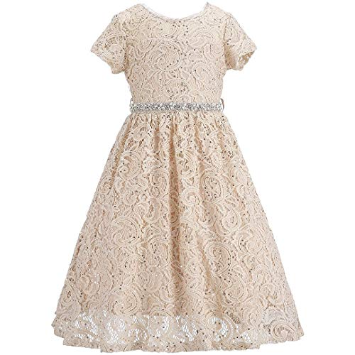Bow Dream Bling Lace Flower Girl Dress Sequins Bridesmaid Party Formal Champagne 6