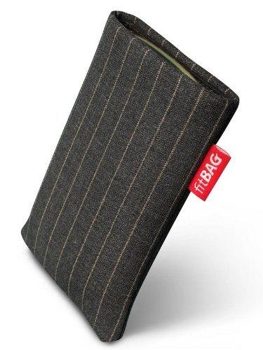 fitBAG Twist Grau Handytasche Tasche aus Nadelstreifen-Stoff mit Microfaserinnenfutter für Motorola V3,V3i RAZR