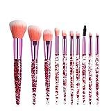 DTTONG 10Pcs Glitter Quicksand Eyeshadow Makeup Brushes Set Blush Brush Concealer Loose Powder Highlight Trimming Eyeliner Makeup Brush