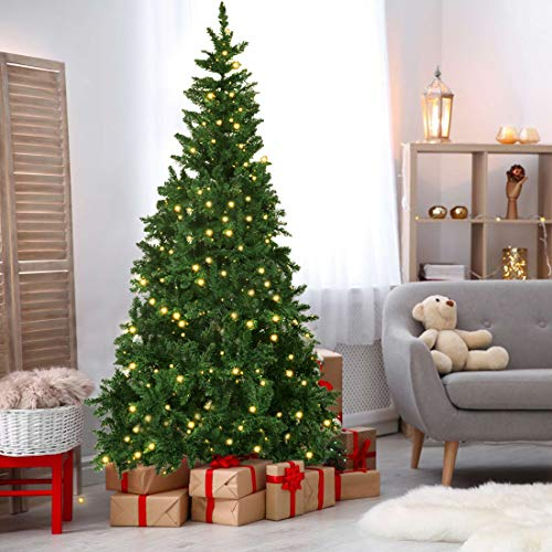 Olsen & Smith 6ft (6 Feet) 1.8m 700 Tips Pre Lit Christmas Tree with Lights (300 Warm White LED Lights) Festive Artificial Pine Indoor Xmas tree