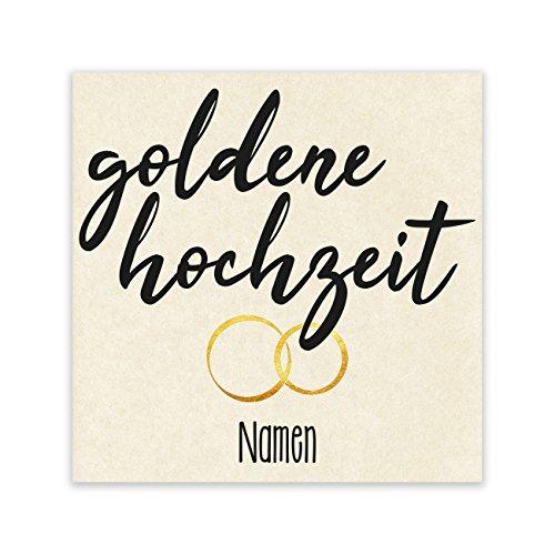 Herz & Heim® Etikett für Flasche - Goldene Hochzeit - mit Namen des Goldpaares 1 Stück