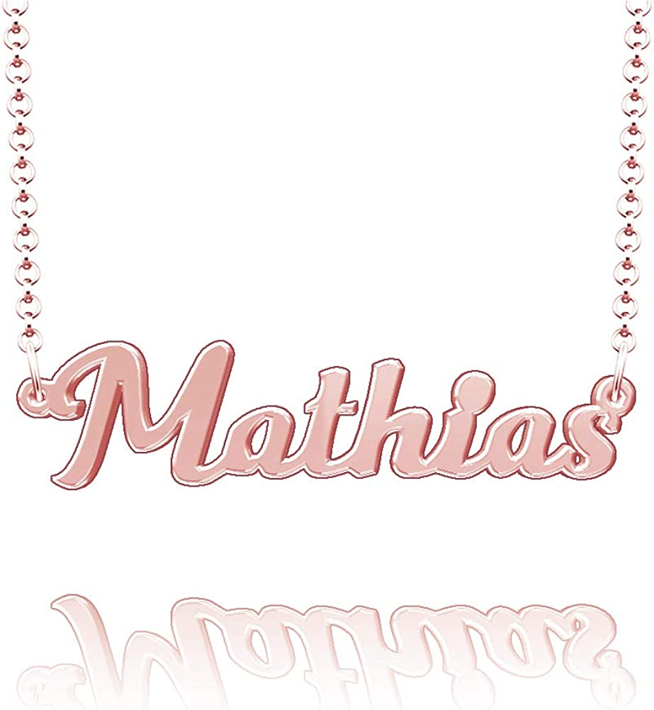 LoEnMe Jewelry Customized Mathias Name Necklace Stainless Steel Plated Custom Made of Last Name Gift for Family