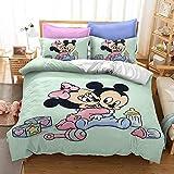 Aatensou Juego de ropa de cama de dibujos animados de Mickey y Minnie, funda de edredón de microfibra (9,135 x 200 cm y 80 x 80 cm)