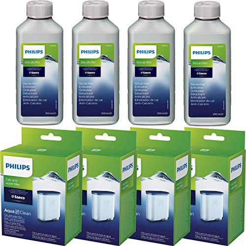4 x Saeco AquaClean Kalk- und Wasserfilter + 4 x Saeco Entkalker 250ml