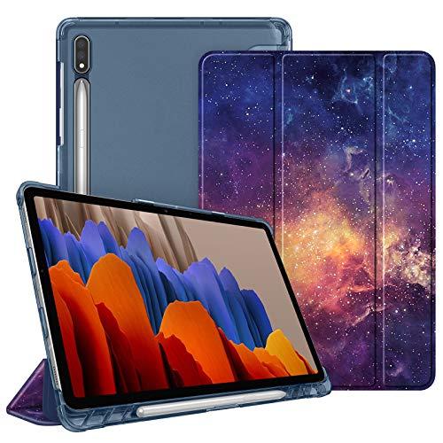 Fintie Hülle für Samsung Galaxy Tab S7 11 2020 - Silm Schutzhülle mit durchsichtiger Rückseite Abdeckung Cover, Auto Schlaf/Wach Funktion für Samsung Tab S7 SM-T870/875 Tablet, Die Galaxie