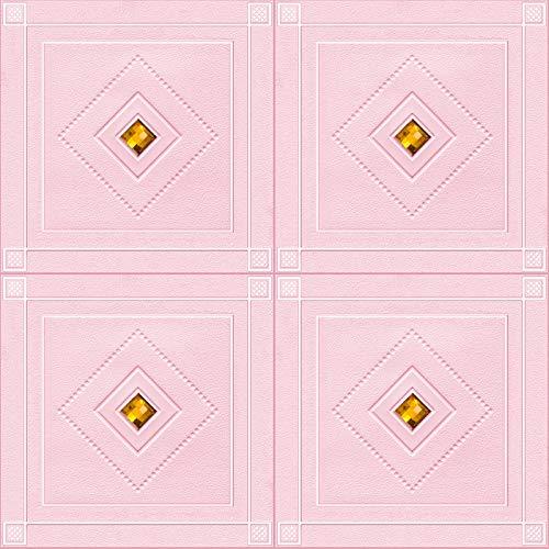 Pegatinas Pared De Ladrillo De Azulejos 3D Diamantes, Papel Tapiz De Panel Espuma Autoadhesivo Bricolaje Impermeable, Sala De Estar Dormitorio, 70X70cm,Rosado,10Pcs
