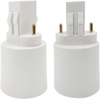 E-Simpo Gx23 to E26/E27 LED Light Socket Adapter, Gx23 to E26/e27 Lamp Base Converter, 2Pin CFL Bulb Holder Conversion Double Tab.2P in Parallel (4-Pack)