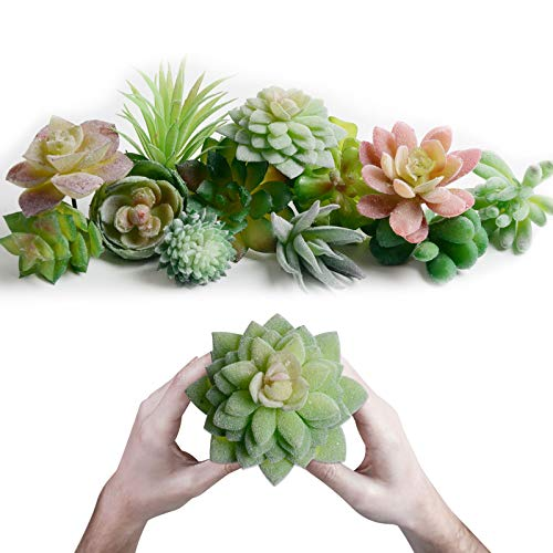 Mini Artificial Succulents Picks - 12 Pcs Unpotted Faux Succulent Assortment in Flocked Green in...