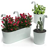 Barnyard Designs Metal Wall Planter, Indoor Outdoor Hanging Plant Pot Decor, Rustic Herb Flower Plant Holder, Soft Mint, Large: 11.25' x 4.25' x 3.75', Small: 4.30' x 4', Set of 3