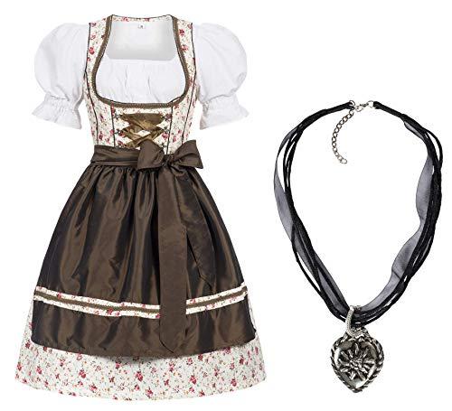 Damen Dirndl Kleid Dirndlkleid Trachtenkleid Midi Erna mit Halskette 38