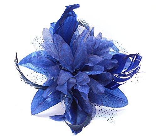 Tocado de flores y plumas Fascinator de Juelz, se ajusta con peine transparente, 9 colores a elegir