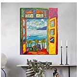 Cuadro de paisaje de balcón de pintor famoso abstracto lienzo nórdico arte de pared póster impresiones pintura para dormitorio Decoracion del hogar 40x60 cm x1 sin marco