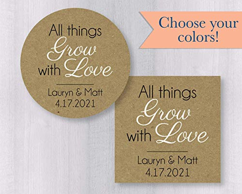 All Things Grow With Love Labels, Kraft Wedding Sticker, Wedding Favor Stickers (#126-KR)