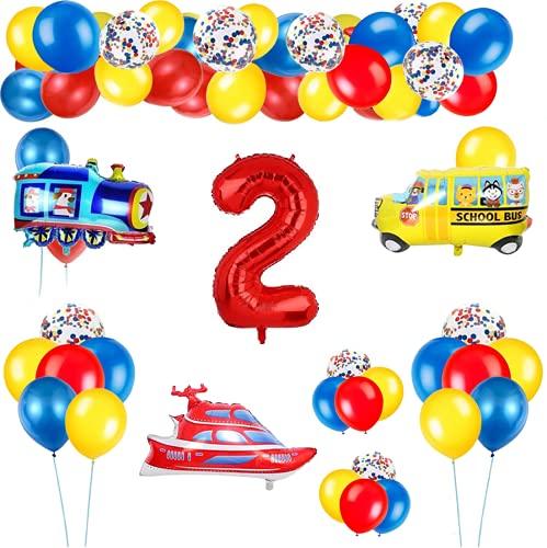 2 Años Decoración de Cumpleaños Número Rojo 2 (40 Pulgadas) Tema de Tráfico Decoración de Fiesta de Cumpleaños Globos de Confeti Látex para Niños Avión Tren Autobús Yate