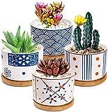 Yesland Juego de 4 macetas para suculentas, con bandeja de bambú, estilo japonés, de cerámica, cilíndrico, con agujero de drenaje, para plantas suculentas, hierbas y miniaturas