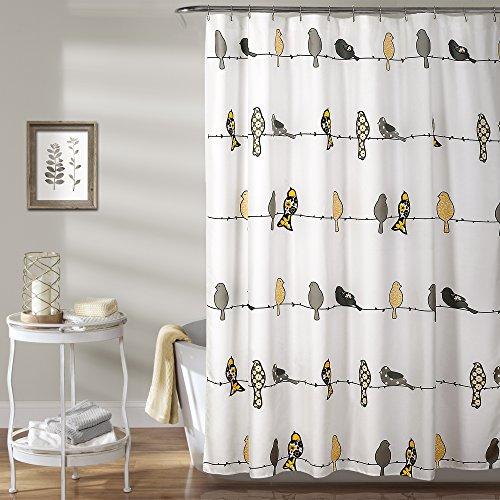 Lush Decor Rowley Shower Curtain-Floral Animal Bird Print Design for Bathroom, x 72, Yellow and Gray, 72