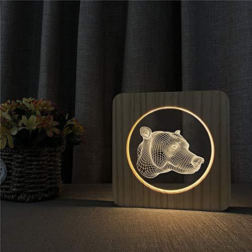 Cabeza de Oso Vida Silvestre Abstracto acrílico lámpara de Mesa de luz Nocturna de Madera Interruptor de Control lámpara de Grabado Regalo de niños