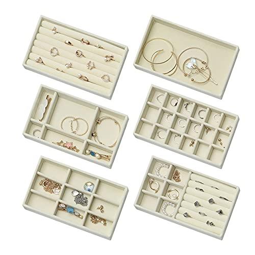 6 bandejas de terciopelo aterciopelado para guardar joyas, organizador, almacenamiento de joyas, cajón, para pulseras, collares, pendientes, anillos, color beige