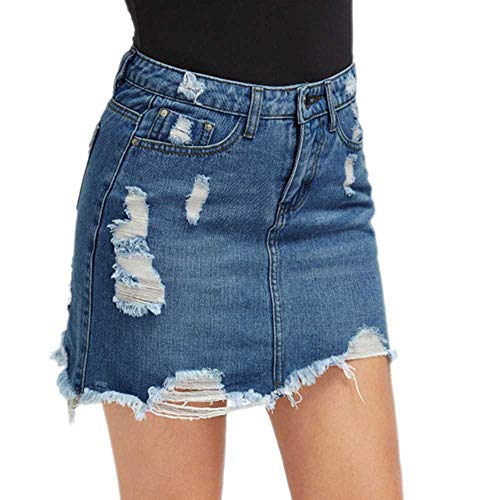Mujeres Seoras Azul Ripped Casual Mini Falda de Mezclilla Verano Nueva Bodycon Falda de Mujer Basic Pocket Jeans Falda Falda de Cintura Media Mujer Mujer