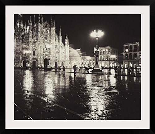 """GREATBIGCANVAS """"Duomo Cathedral at Night Under rain, Milan, Italy Photographic Print with Black Frame, 36"""" x 30"""""""
