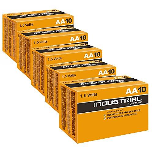 Duracell Industrial AA Alkaline 1,5 V LR6 MN1500 ersetzt Procell AA, 50 Stück