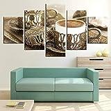 YliJkeT HD Pintura 5 Cuadro de Lienzo Restaurante de Cocina de Taza de café de Feria Continua decoración del hogar artísticos para Interiores