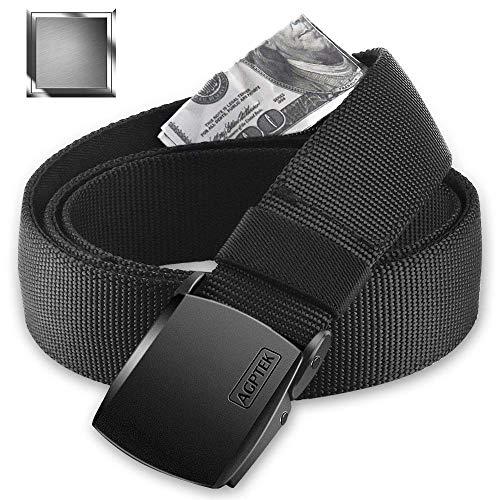 AGPTEK Geldgürtel mit Reißverschluss Geheimfach, Geldversteck, geeignet für Reise, Dienstreise, Joggen, für Herren und Frauen, Metallschnalle, schwarz