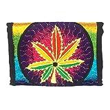 ImZauberwald Hanf Geldbörse UV handgestickt Cannabis Marihuana Weed Schwarzlicht aktiv Portemonnaie Geldtasche Brieftasche Börse