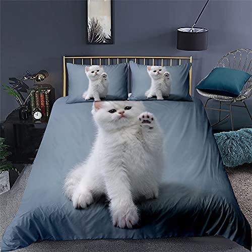 MTTD Funda Nórdica con Lindo Gatito para Mascotas En 3D, Lindo Juego De Cama para Gatos, Suave Y Agradable para La Piel, Muy Adecuado para Regalos (Gatito 3,180 x 220 cm-Cama 105)