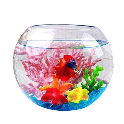 Ffshop Peceras Tanque de Peces de Cristal Creativo Tanque Redondo esférico Goldfish Bowl Decoración de Escritorio Tanque de Peces Transparente Acuario Tanque de Pescados (tamaño : S)