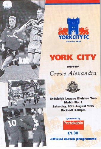 York City v Crewe Alexandra FC 26/08/95 (Bootham Crescent) football programme